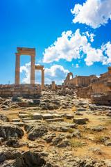 Stoa, portico and Propylaea on Acropolis of Lindos (Rhodes, Greece)
