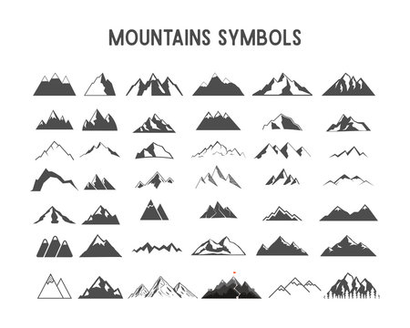 Mountain shapes and elements for creation your own outdoor labels, wilderness retro patches, adventure vintage badges, hiking stamps. Check others sets with camp gears, sunbursts etc.