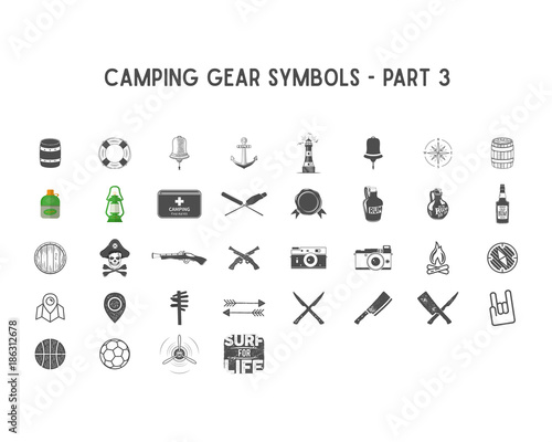 Set Of Silhouette Icons And Shapes With Different Outdoor Gear