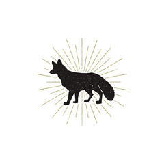 Hand drawn Fox Silhouette illustration. Vintage Black fox with sunbursts isolated on white background. Good for tee shirt, clothing prints, mugs, travel pennant designs. Stock .