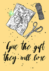 Christmas gift tag and card with calligraphy. Hand drawn design flyers. Handwritten modern lettering. Vector.