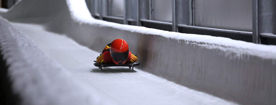 skeleton bob sled in ice channel