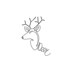 One line design silhouette of side view deer. Hand drawn minimalism style.