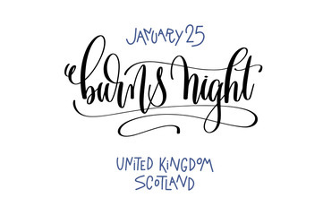january 25 - burns night - united kingdom scotland, hand letteri
