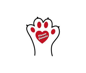 Please donate animal paw print