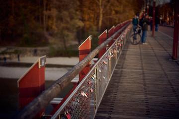 Padlocks on a bridge in Munich Germany
