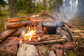 Cooking in a pot on a campfire in the forest in fall.