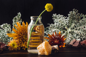 Craspedia with Chrysanthemums and Dusty Miller