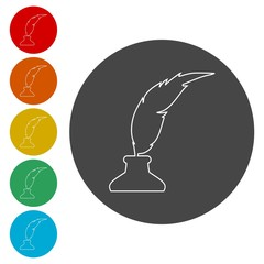 Feather with ink sign icon