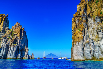 eolian island, landscape with rocks close to Stromboli volcano, Sicily