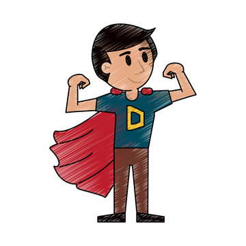 Superhero young man cartoon icon vector illustration graphic design