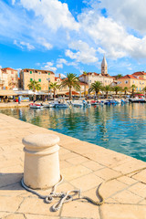 Fototapete - Pier in Supetar port with colorful houses and boats, Brac island, Croatia