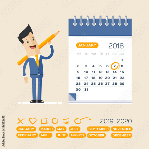 Businessman In Blue Suit With Pen And Calendar Business Operations