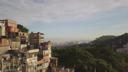 Fototapete - Aerial view of favela in Rio de Janeiro, Brazil