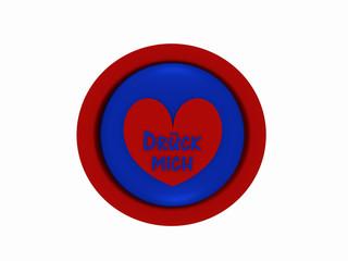 """runder Button in rot-blau mit Herzchen und dem deutschen Text """"drück mich"""", auf weiß isoliert."""