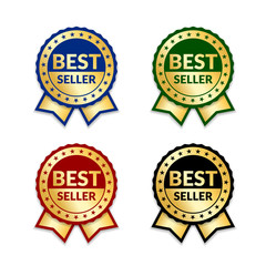 Ribbons award best seller set. Gold ribbon award icon isolated white background. Bestseller golden tag sale label, badge, medal, guarantee quality product, business certificate. Vector illustration
