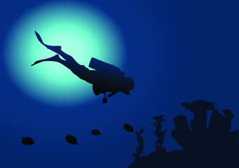 Diver in blue ocean illustration vector