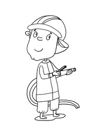 cute illustration  fireman  coloring cartoon drawing and white background