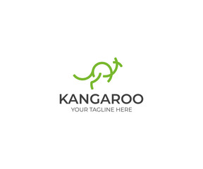 Line Kangaroo Logo Template. Abstract Wallaby Vector Design. Animal Illustration