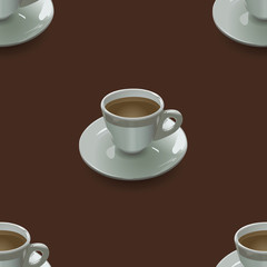 seamless texture with cups on a brown background
