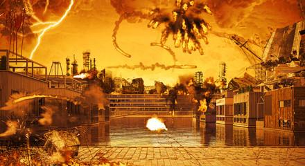 Porto di amsterdam, case gallegianti, illustrazione 3d, distruzione, esplosioni, apocalisse, calamità, guerra, terrorismo