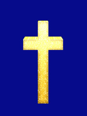 3d effect golden cross, crucifix on blue.