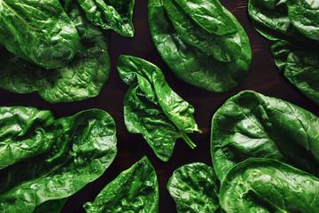 Spinach on Dark Table