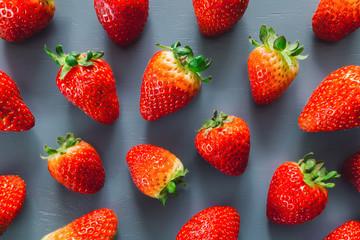 Fresh Strawberries on Blue Table