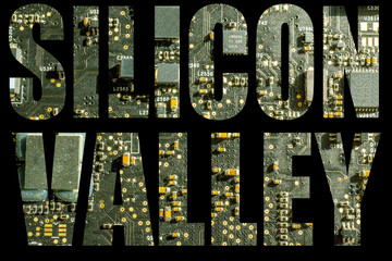 silicon valley overlaid on circuit board or motherboard