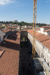 The Uffizi Gallery in a sunny day. View from Palazzo Vecchio. Florence, Tuscany, Italy.