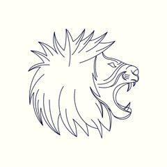 Lion Mono Line Logo. Lion Mascot Logo. Logo Template. Lion vector illustration.
