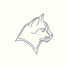 Cat Mono Line Logo. Cat Mascot Logo. Logo Template. Cat vector illustration.