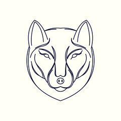 Wolf Mono Line Logo. Wolf Mascot Logo. Logo Template. Wolf vector illustration.
