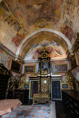 Richly decorated  Baroque interior rooms of the Porto's Cathedral in Porto, Portugal
