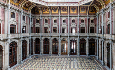 Porto's old trading floor called the Courtyard of Nations in the Bolsa Palace, in Porto, Portugal, built in the 19th century by the city's Commercial Association in Neoclassical style.