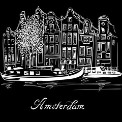 City view of Amsterdam canal, typical dutch houses and boats, Holland, Netherlands. White on black