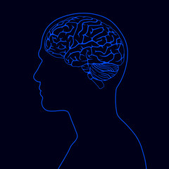 Blue human brain