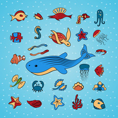 Clip art with marine life