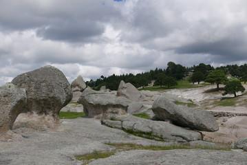 Felsformationen im Tal der Frösche in der Nähe von Creel, Mexiko