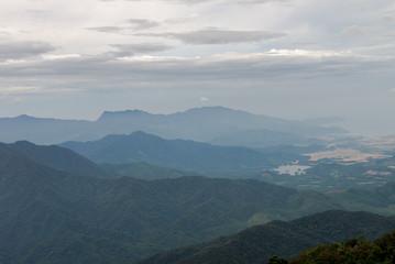 Nice mountain landscape sunset view from Ba Na Hill, Da Nang Vietnam Feb 2017