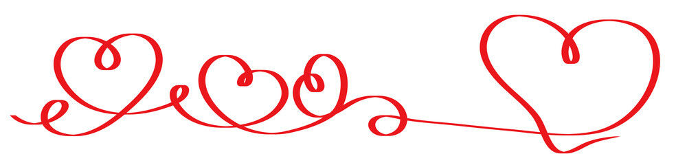 Calligraphy Red Heart Ribbon. Connected Red Calligraphy Hearts Ribbon Banner. Herzförmiges Geschenkband. Herzförmiges rotes Geschenkband. Valentine heart.