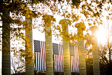 The famous Columns on the MU Campus are decorated with American flags in honor of Veteran's Day...Photo by Kyle Spradley | © Kyle Spradley Photography | www.kspradleyphoto.com