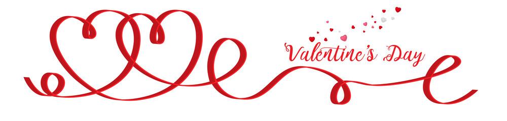 Red heart-shaped ribbon - Valentine's day. Valentine heart ribbon.