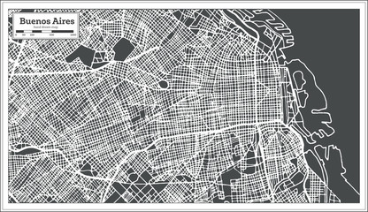 Buenos Aires Argentina City Map in Retro Style. Outline Map.