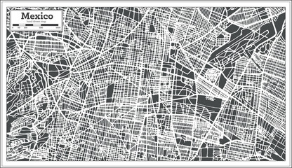 Mexico City Map in Retro Style. Outline Map.