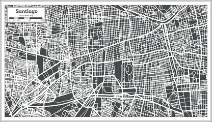 Santiago Chile City Map in Retro Style. Outline Map.