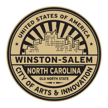 Stamp or label with text Winston-Salem, North Carolina
