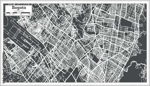 Bogota Colombia City Map in Retro Style. Outline Map.\