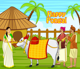 illustration of happy pongal festival