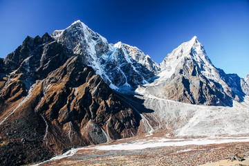 Great mountains on Himalayas in Nepal
